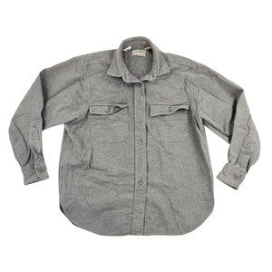 LL Bean Button Front Shirt Women's 10 Gray Chamois